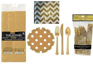 Amscan – oro plástico cubiertos, servilletas, platos de papel y plástico Mantel
