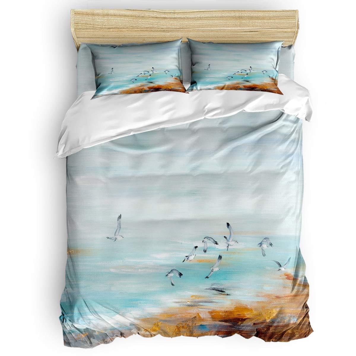 掛け布団カバー 4点セット 美しい海面の夕日 寝具カバーセット ベッド用 べッドシーツ 枕カバー 洋式 和式兼用 布団カバー 肌に優しい 羽毛布団セット 100%ポリエステル キング B07THBMSFZ Sand seagullLAS9533 キング