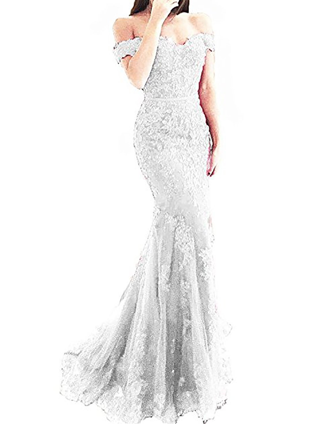 fdd90473088 Scarisee Women s Mermaid Trumpet Beaded Off Shoulder Prom Evening Dresses  Lace Appliqued Formal Party Gowns White 02