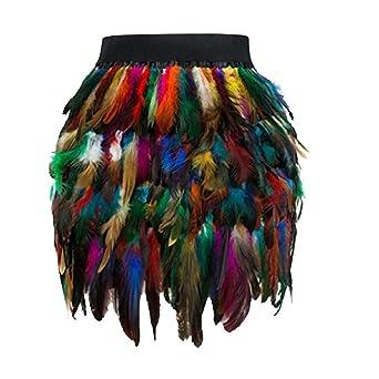 Bibao vestido de noche con flecos de pavo real y cuello de plumas ...