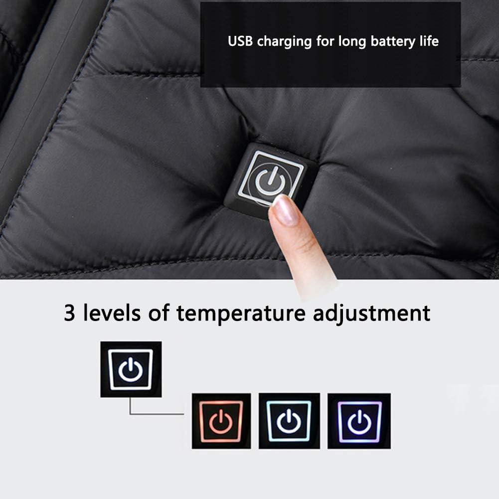 Chalecos Termico Exteriores Carga USB Chaleco El/éctrico Lavable para Ni/ño Deportes al Aire Libre Esqu/í Pesca Chaleco Calefactable Ni/ño,El/éctrico Chaleco Calentado con 3 de Temperatura Ajustable
