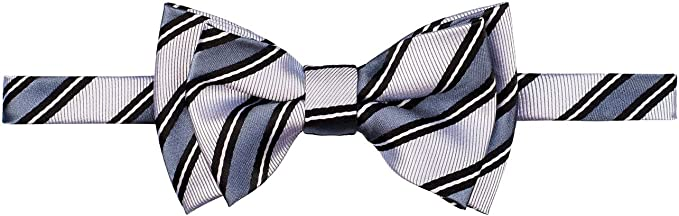 Retreez Preppy Stripe Pattern Woven Microfiber Pre-tied Boys Bow Tie