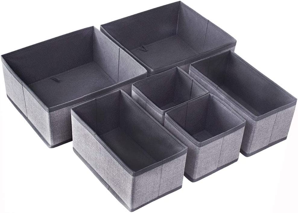 Homyfort Set of 6 Foldable Closet Dresser Organizer Drawer Divider , Underwear Baby Clothes Cube Storage Bins for Bras, Socks, Undergarments, Scarves (Grey with Pattern )