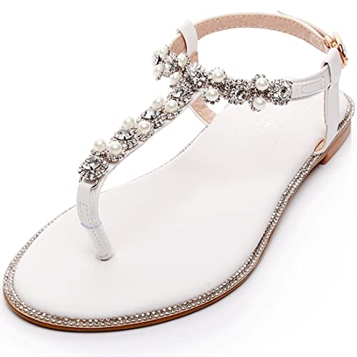 LUXVEER Beach Wedding Shoes,Wedding Flats Bridal Shoes Women Flats Low Heel  For Party