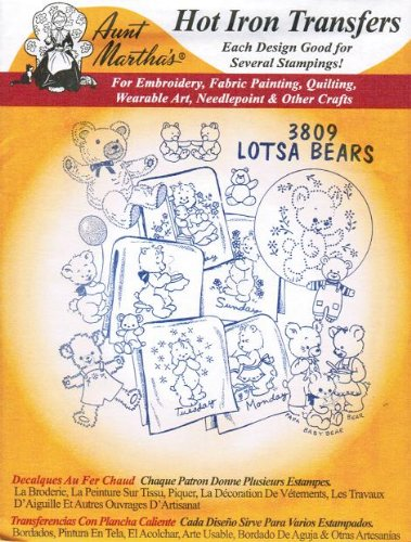 Lots of Teddy Bears Aunt Martha's Hot Iron Embroidery Transfer