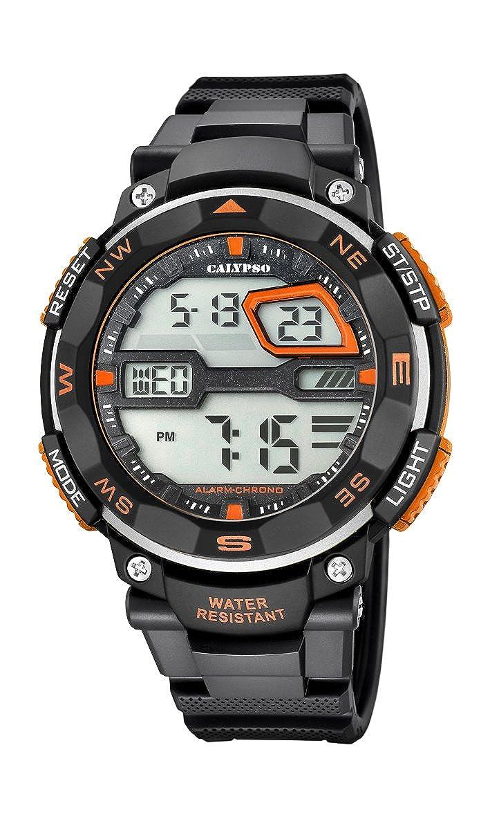Calypso Hombre Reloj Digital con Pantalla LCD Pantalla Digital Dial y Correa de plástico en Color Negro k5672/1