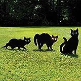 Garden Mile Pack of 3 Black Powder Coated Metal Cat (Bird, Animal,Fox Humane Pest Control) Scarers,Wild Garden Animal Repeller, Bird Deterrent