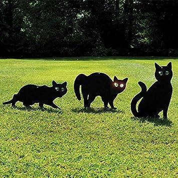 Garden Mile Paquete de 3 Recubrimiento Negro Gato De Metal (Pájaro, Animal,Fox Humano Control De Plagas) Espantapájaros,Jardín Silvestre Repelente De ...