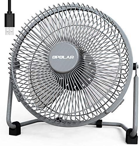 OPOLAR 9 Inch USB Fan, USB Powered Desk Fan No Battery , Enhanced Airflow, Lower Noise, Two Speeds, Perfect Personal Cooling Fan for Home Office Desk-Gray