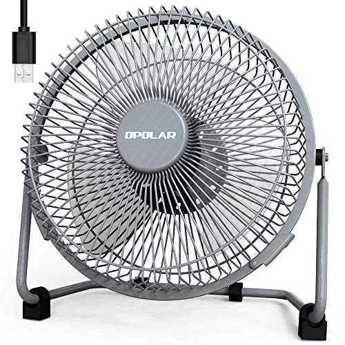 OPOLAR 9 Inch USB Fan, USB Powered Desk Fan (No Battery), Enhanced Airflow, Lower Noise, Two Speeds, Perfect Personal Cooling Fan for Home Office Desk-Gray