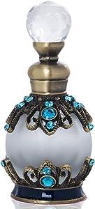 15ml Antique Empty Refillable Perfume Bottle Blue Rhinestones Embellished Fancy Retro Fragrance bottle Scent Bottle