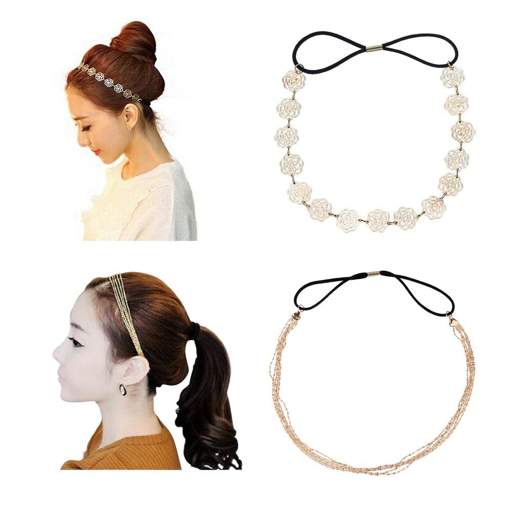 Set of 2 Decorative Hair Bands With Vintage Fashion Style Gold Flowers Roses Alice Headband And Elegant Head Band Decoration With 5pcs Long Golden Chains And Black Elastic Bands Straps By VAGA