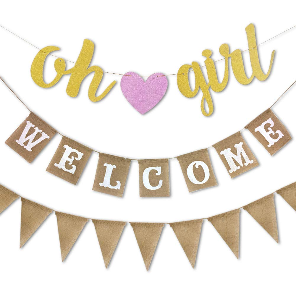 RareLove 3 PCS Pink Oh Girl Burlap Welcome Pennant Birthday Banner Flags Baby Shower Gender Reveal Party Supplies