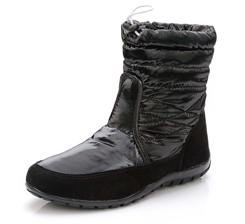 Aisun Women's Warm Classic Round Toe Dress Platform Thick Sole Flats Velcro Snow Booties Shoes