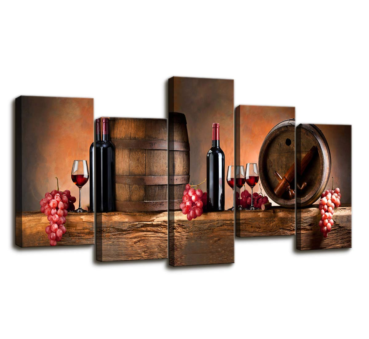Cao Gen Decor Art-PSRP12826 Panels Wall Art Fruit Grape Red Wine Glass Painting on Canvas Stretched and Framed Canvas Paintings Ready to Hang for Home Decorations Wall Decor