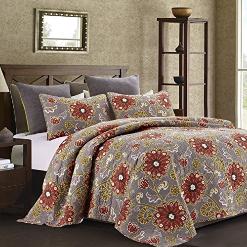 Hedaya Home Fashions 351 2ST Aurora Reversible Quilt Set, Chic Floral Pattern, 3-Piece Set with Quilt and Pillow Shams - Full/Queen