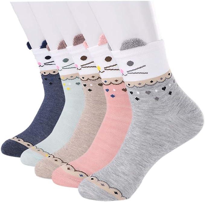 Yuccer Calcetines de Animales, 5 Pares Divertidos Calcetines de Algodón Linda Piso Calcetines de dibujos Crew Socks para Bebé Niñas Adulto (Gato): Amazon.es: Ropa y accesorios