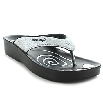 7e00c2785b982 Image Unavailable. Image not available for. Color  Aerosoft Womens  Gliteratti Orthotic Soft Open-Toe Comfortable flip-Flop Sandals