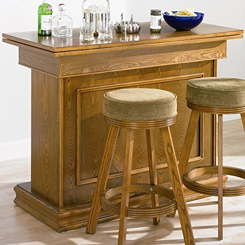 Beau Coaster All In One Game Table/bar Unit With Wine Shelves Oak Finish By  Coaster