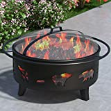 """Wild Bear 35"""" Portable Outdoor Fireplace Fire Pit Ring for Backyard Patio Fire, RV, Patio Heater, Stove, Camping, Bonfire, Picnic, Firebowl No Propane, Includes Safety Mesh Cover, Poker Stick"""