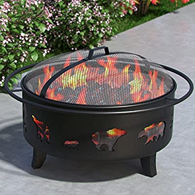 "Wild Bear 35"" Portable Outdoor Fireplace Fire Pit Ring for Backyard Patio Fire, RV, Patio Heater, Stove, Camping, Bonfire, Picnic, Firebowl No Propane, Includes Safety Mesh Cover, Poker Stick"
