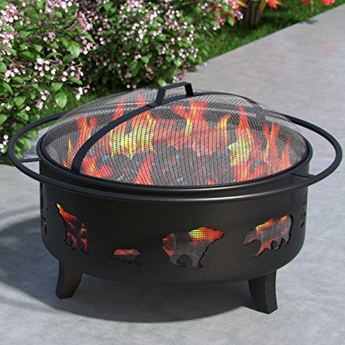 "Wild Bear 35"" Portable Outdoor Fireplace Fire Pit Ring For Backyard Patio Fire, RV, Patio Heater, Stove, Camping, Bonfire, Picnic, Firebowl No Propane, Includes Safety Mesh Cover, Poker Stick Review"
