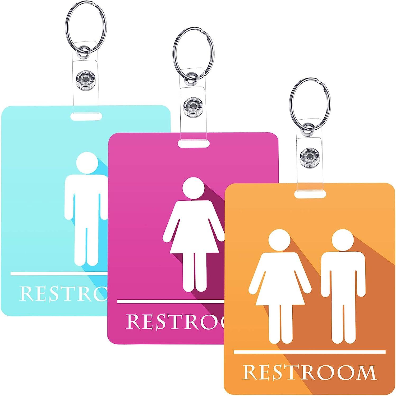 Restroom Key Tags Restroom Pass Keychains Unisex Restroom Keychain or Key Tag for Male Female Restroom Washroom Toilet Sign (6)