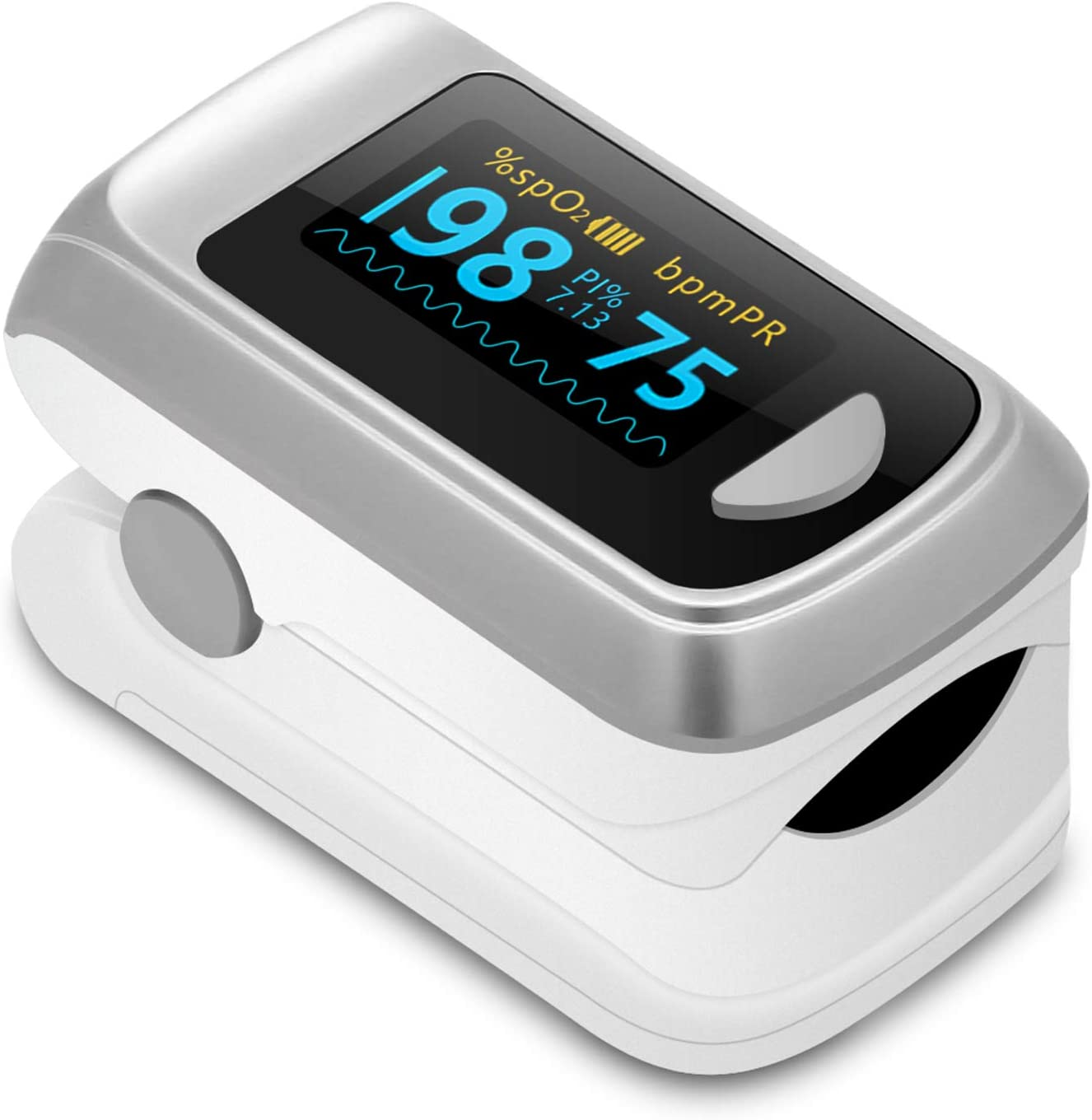 Pulse Oximeter Blood Oxygen Saturation Monitor, Digital Fingertip SpO2 Oxygen Meter Heart Rate Monitor OLED Digital Display with 2 AAA Batteries…