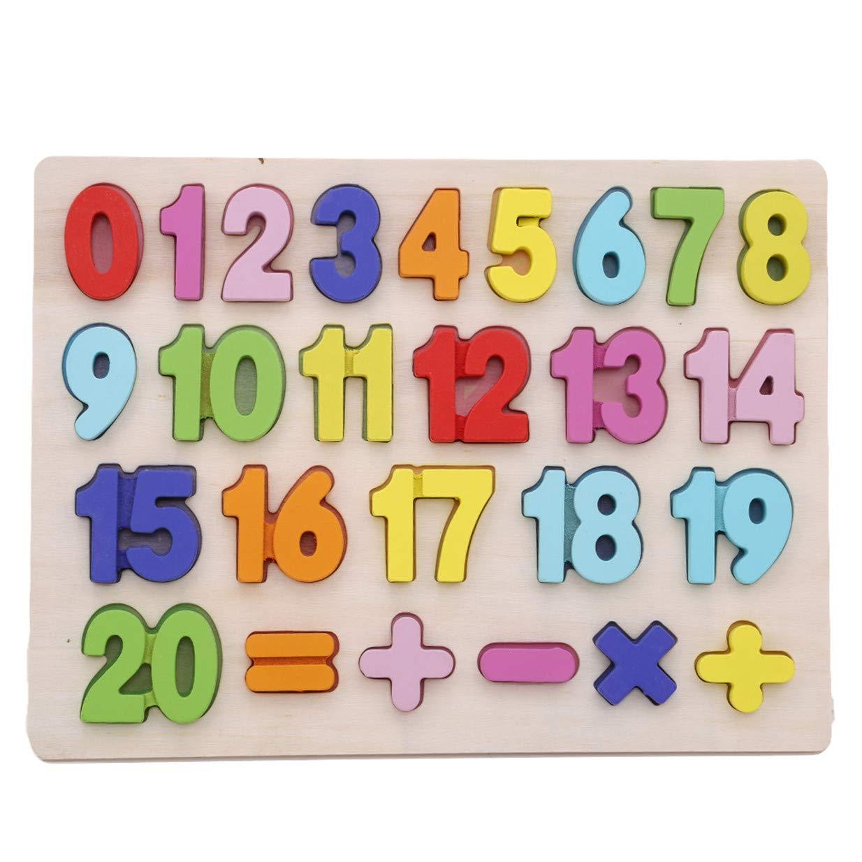 EJY Enfants Alphabet Apprendre Anglais Enfants en Bois Puzzles É ducation Pré coce Jouet(0-9 Chiffres) 88_Store