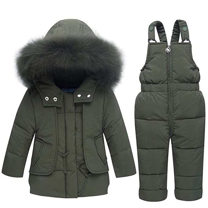 028cb8a6f FAIRYRAIN Little Kids Baby Girls Boys Two Piece Winter Warm Zipper Fur Trim  Hooded Snowsuit Puffer Down Jacket Snow Ski Bib Pants Outfits Outwear
