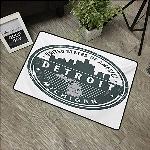 HRoomDecor Detroit,Kitchen Mat Damaged Old Stamp of Michigan USA with City Map Location Tourism Travel Icon W 16