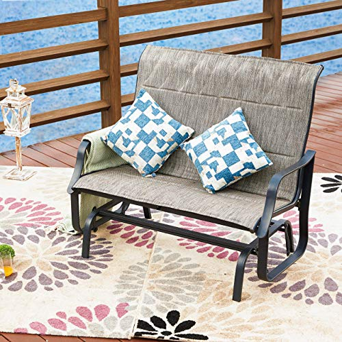 (LOKATSE HOME Patio Outdoor Glider Seat Bench 2-Person Swing Loveseat Furniture Rocker Lounge Chair, Gray )