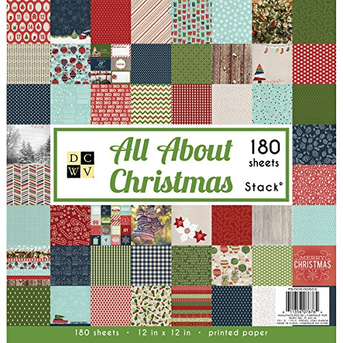 """American Crafts DCWV 12"""" x 12"""" All About Christmas Premium Stack - 180 Sheets, Printed Paper - Scrapbooking Accessory and Decoration"""