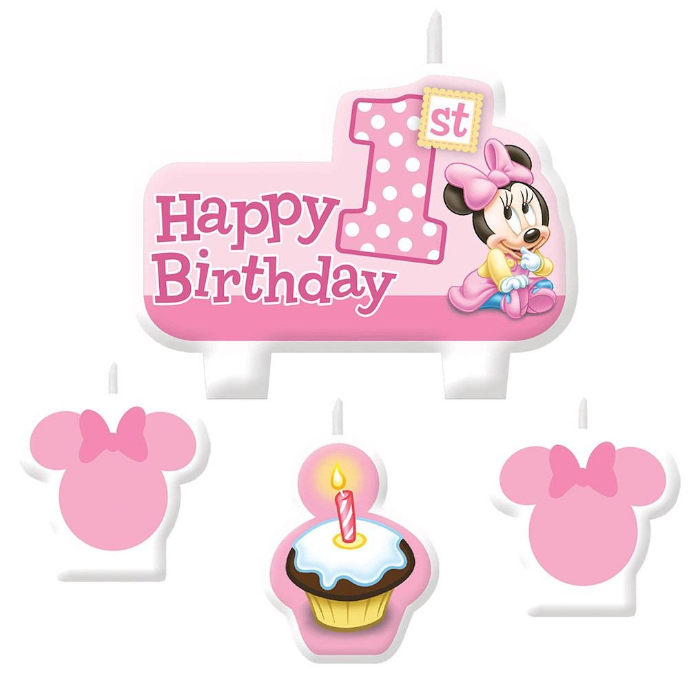 Minnie Mouse 1St Birthday Candle Set (4 Pack) - Party Supplies