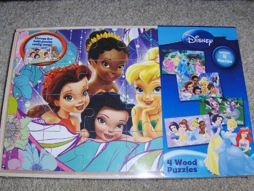 (Disney 4 Wood Puzzle Set Princesses, Tinkerbell, Minnie Mouse Puzzles)