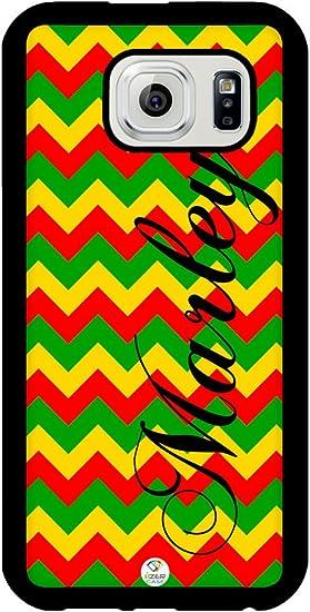 Izercase Samsung Galaxy S6 Funda Personalizada Rasta Reggae Colores Rojo Amarillo Y Verde Patrón De Chevron Carcasa De Goma Compatible Con Samsung Galaxy S6 T Mobile En T Sprint Verizon