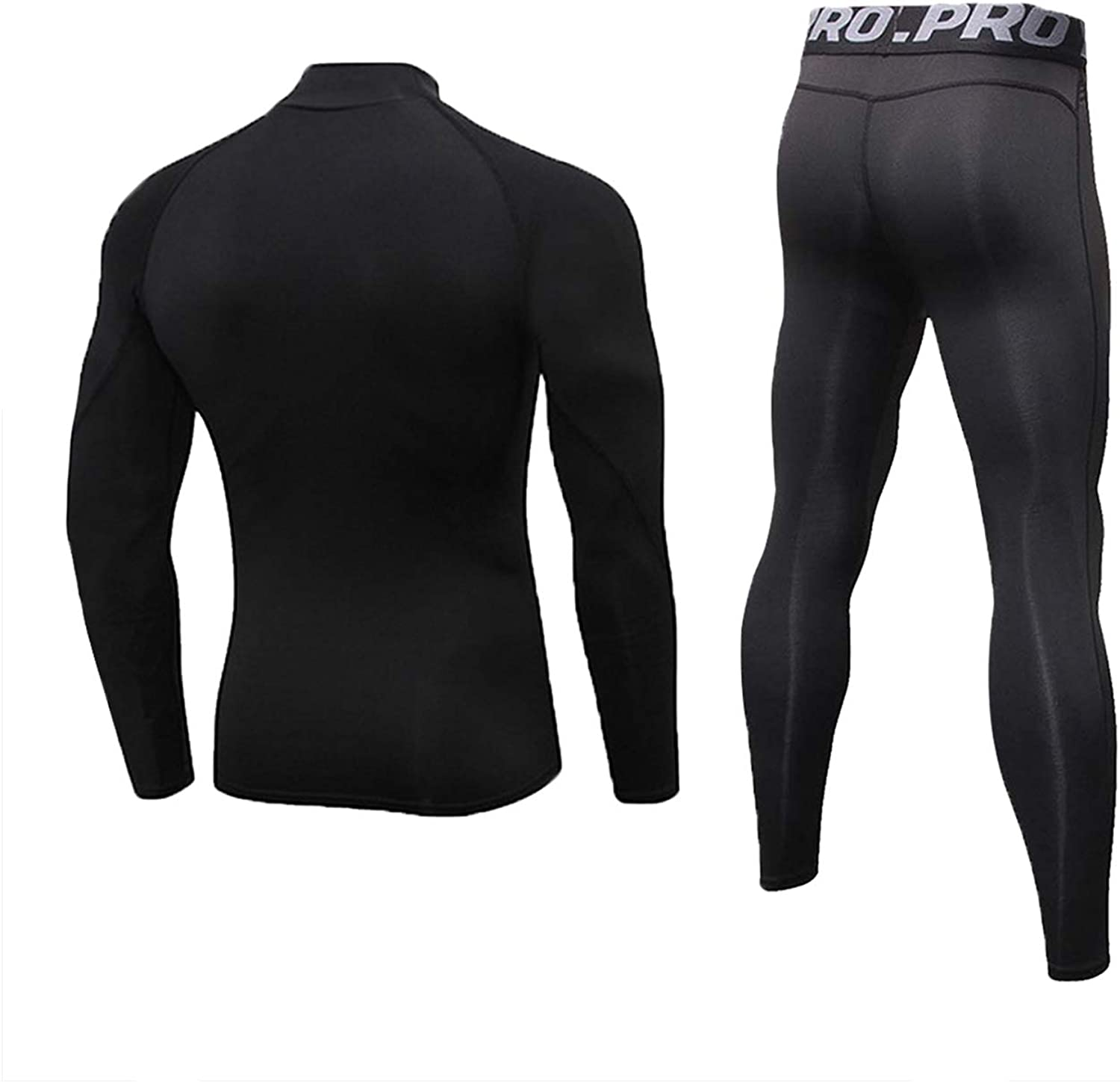Mens Fitness Base Layer Stand Collar Tops and Long Johns 2 Pc Quick Dry Moisture Wicking Underwear for Cycling Running Gym