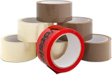 6 Rollen Klebeband Packband Paketband Braun Vorsicht Glas Handabroller