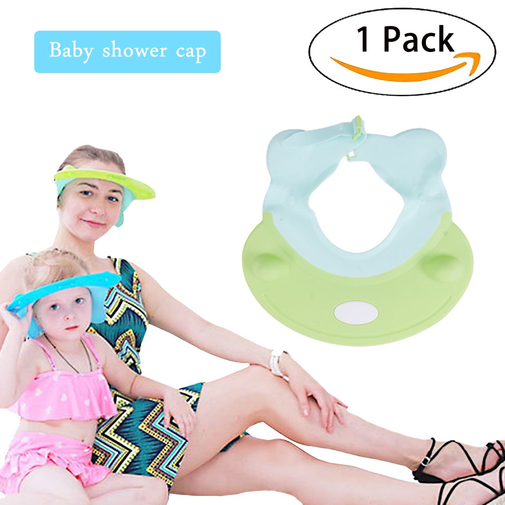 Baby Shower Cap - Baby Adjustable Shower Bathing Visor - Hair Wash Eye Ear Protection Shield from Water Foam and Shower Safety - for Toddler Children Kids by Sportsvoutdoors (Green)