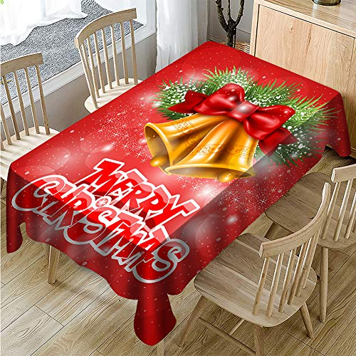 Muuyi Festival Tablecloth Christmas Fabric, Waterproof Spillproof Polyester Fabric Table Cover for Kitchen Dinning Tabletop Decoration, Cafe, Restaurant (Rectangle/Oblong - 60 x 84 Inches)]()