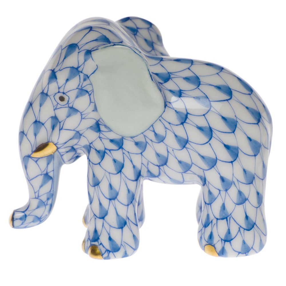 Herend Miniature Elephant Blue Fishnet by Herend