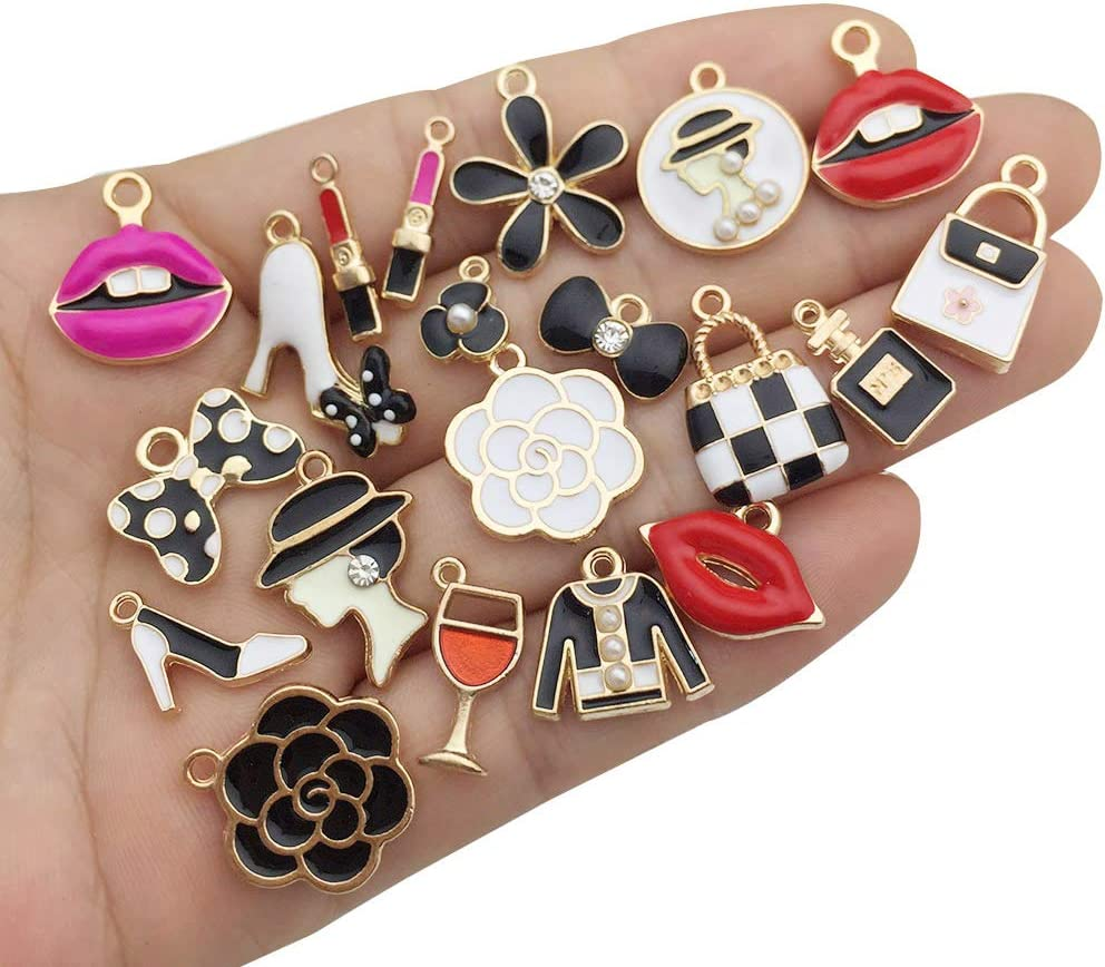 M420 WOCRAFT 32 pcs Gold Plated Enamel Mini Women Makeup 3D High Heels Charms Pendant for Jewelry Making Necklace Bracelet Earring DIY Jewelry Accessories Charms