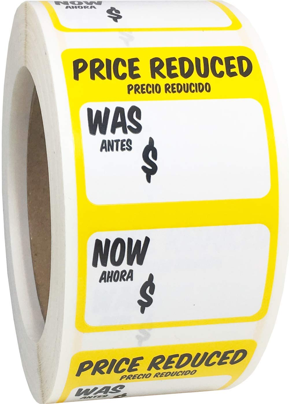 Price Reduced was Now Retail Sale Labels 2 x 3 Inch Rectangle 500 Adhesive Stickers by InStockLabels.com