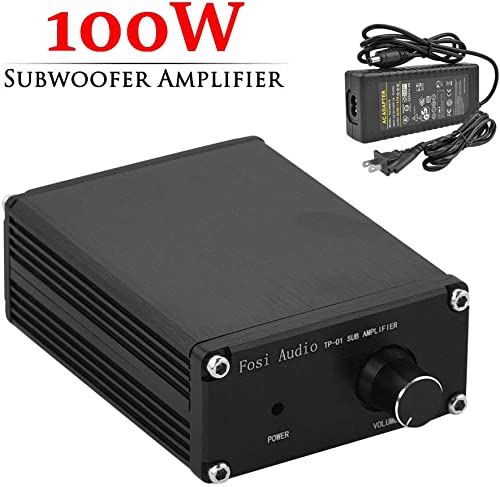 Subwoofer Amplifier Receiver 100Watt Mini Hi-Fi Digital Class D Integrated Stereo Audio Amp for Sub Bass Power Supply TP-01