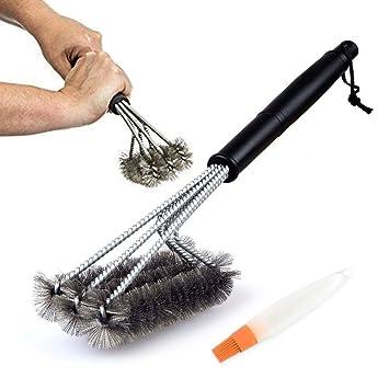 SPECOOL Cepillo triangular limpiador de barbacoa, cepillo de parrilla para barbacoa con rascador de acero