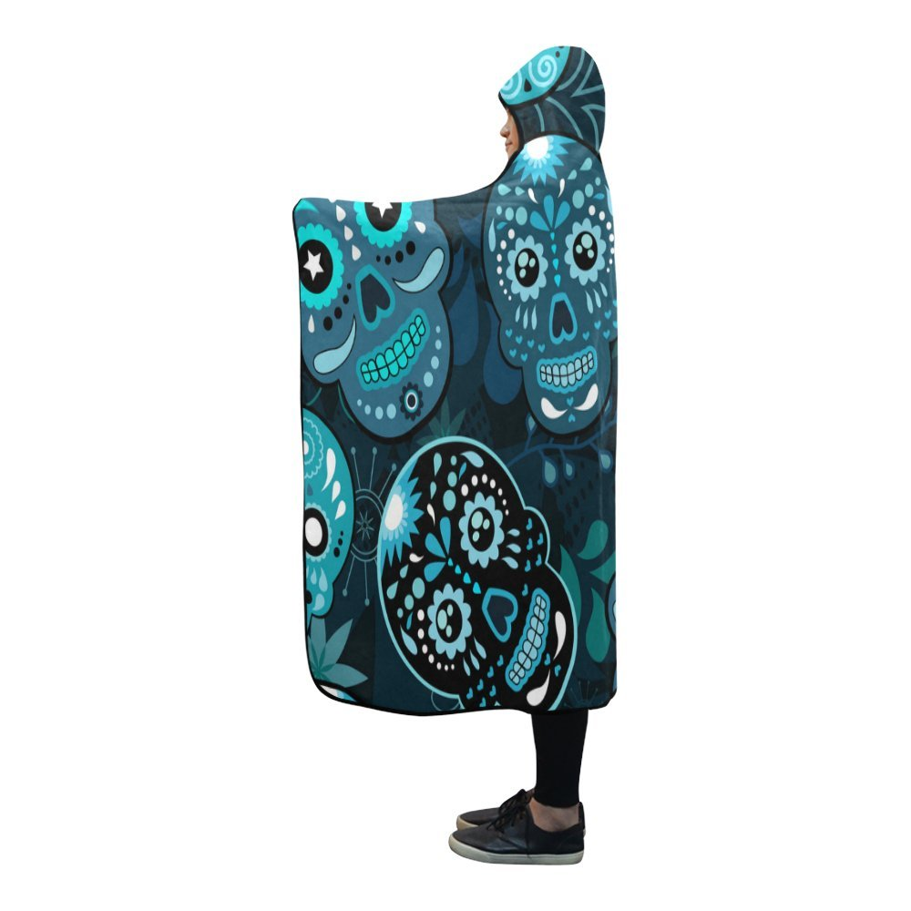 Artsadd Unique Debora Custom Hooded Blanket Hoodie Cape Shawl Soft Warm Lightweight for Day Of The Dead Colorful Sugar Skull by Artsadd