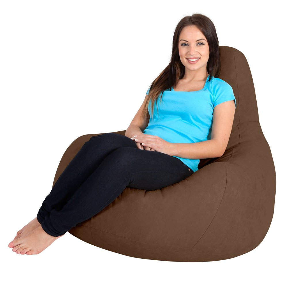 designer gaming bean bag chair  faux suede chocolate brown  - designer gaming bean bag chair  faux suede chocolate brown recliner beanbags amazoncouk kitchen  home