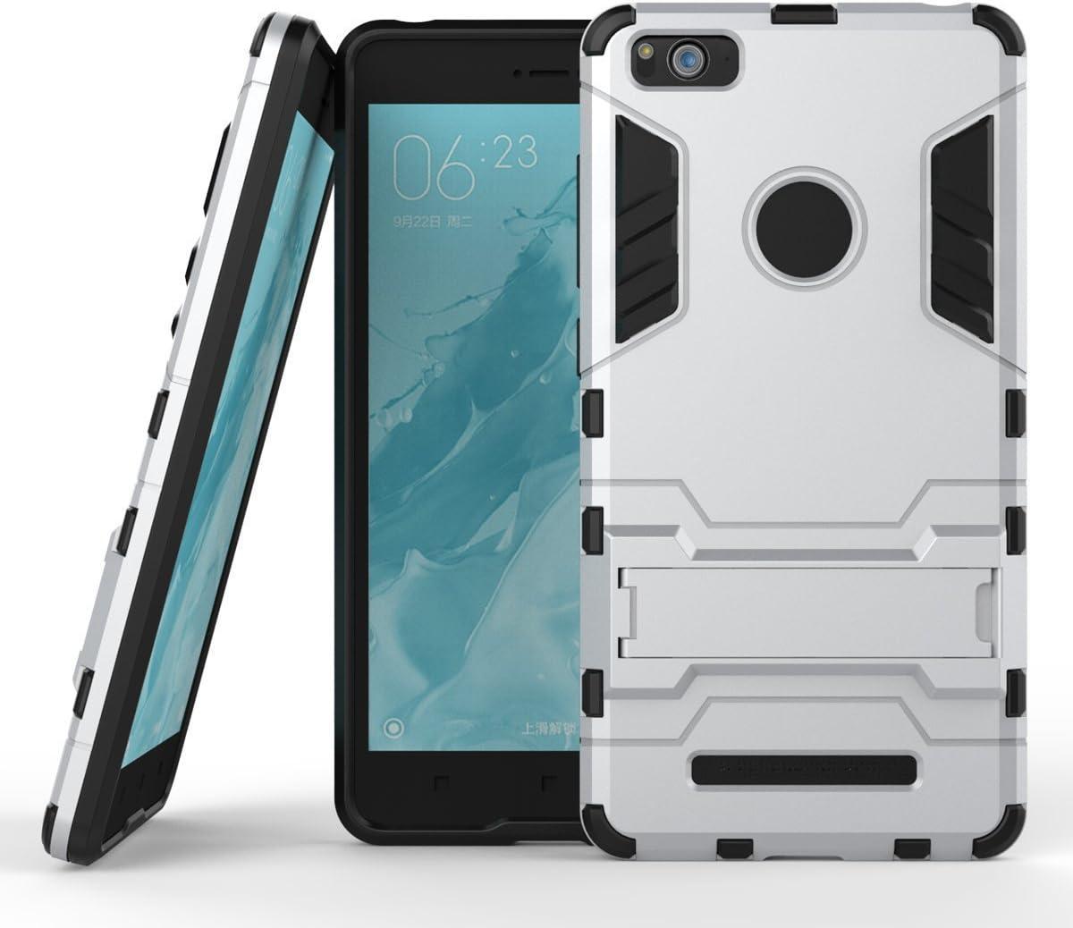Funda para Xiaomi Mi 4i / Mi 4C (5 Pulgadas) 2 en 1 Híbrida Rugged Armor Case Choque Absorción Protección Dual Layer Bumper Carcasa con Pata de Cabra (Plateado)