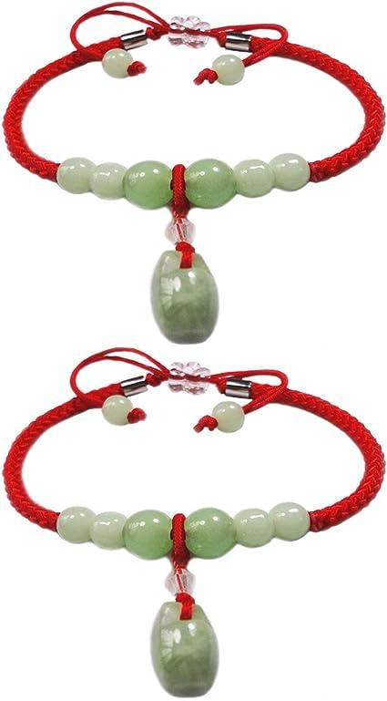 NATURAL JASPER rouge Lucky Bracelet Pour Femme Jonc Jade Wax String Amulette