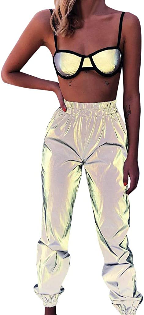 riou Pantalon Chandal Mujer Largos Pantalones de Deporte Yoga Fitness elásticos luminosos de pie con haz reflectante casual Gimnasio Deportes Correr Jogging